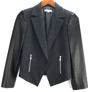 Michael Kors Wool Faux Leather Blazer Jacket ITALY